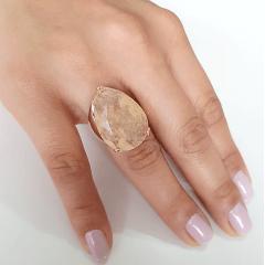Anel cristal rutilado formato gota 25x18mm - modelo Energy