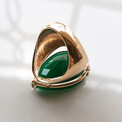 Anel cristal verde esmeralda formato gota 25x18 mm - modelo Energy