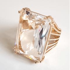 Anel cristal white retangular -25x20mm - Modelo EMMA