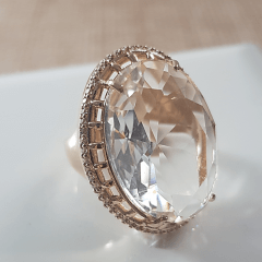 Anel cristal white oval 25X18mm - com zircônias