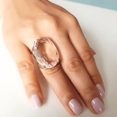 Anel cristal white oval 30x20mm - Modelo Morgana