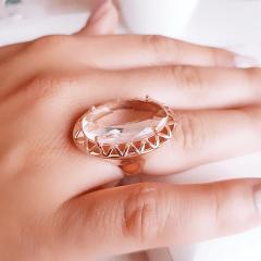 Anel cristal white oval 25x15mm  - modelo Cecília