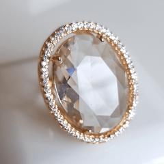 anel cristal white oval 25x18mm com borda de zircônias