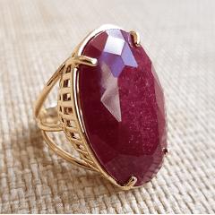 Anel pedra natural rubilita oval 20x30mm - Brigite