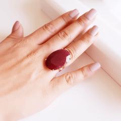 Anel pedra natural rubilita oval 20x30mm - modelo Ayla