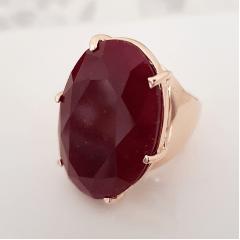 Anel pedra natural rubilita oval 30x20mm - aro fechado - Modelo Lara