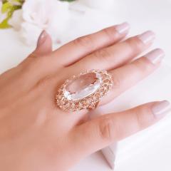 anel cristal white oval 25x15mm  com zircônias - modelo Tarsila
