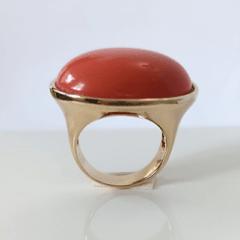 Z-Anel Allegra de resina coral oval transversal