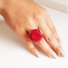Anel pedra natural rubilita redonda 25x25mm