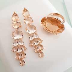 Anel cristal pêssego morganita oval 18x25mm - Modelo Xadrez