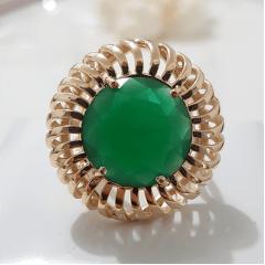 Anel cristal verde esmeralda redondo 16mm  - modelo Stella