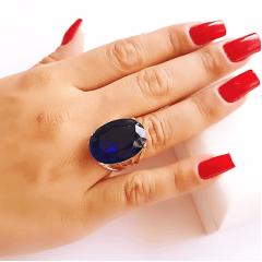 Anel cristal azul safira oval25x18mm - modelo 4 aros