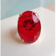 Anel cristal vermelho rubi oval 25x18mm - modelo 4 aros