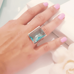 Anel cristal azul aquamarine retangular 25x18mm