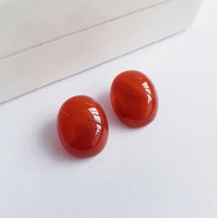 Brinco botão pedra natural ágata - 14x10mm