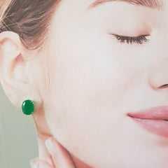 Brinco botão cristal verde esmeralda-oval 10x8mm