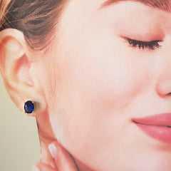 Brinco botão oval de cristal azul safira - 8x6mm