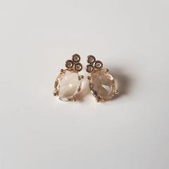 Brinco botão cristal champanhe com zircônia-oval 8x15mm