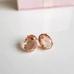 Brinco botão cristal pêssego morganita- oval 14x10mm