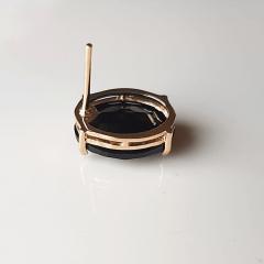 Brinco botão oval de cristal preto ônix 10x14mm-1