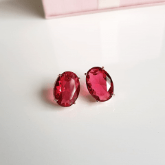 Brinco botão cristal rosa turmalina-oval 10x14mm