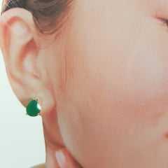Brinco gota cristal verde esmeralda - 8x6mm