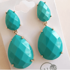 Brinco gota de cristal cor turquesa