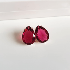 Brinco gota cristal rosa turmalina-- 18x13mm