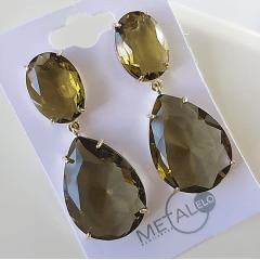 Brinco grande de cristal  gota - verde oliva