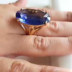 1-Anel cristal tanzanita oval 30x20mm - modelo Greta