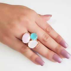 Anel cristais leitosos multicolor - modelo Valentine