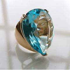 Anel cristal aqua formato gota 25x18mm - modelo Energy