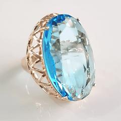 Anel cristal aquamarine oval  28x17mm - modelo Iolanda