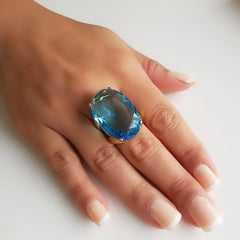 Anel cristal azul aquamarine 25X18mm - Modelo Ruthie