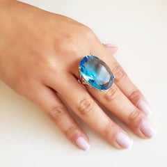 Anel cristal azul aquamarine oval 30x20mm - Modelo Greta