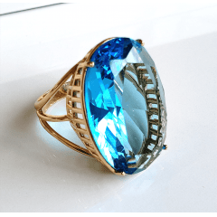 Anel cristal azul aquamarine oval 30x20mm - modelo Brigite