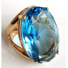 Anel cristal azul aquamarine oval 30x20mm - modelo Morgana