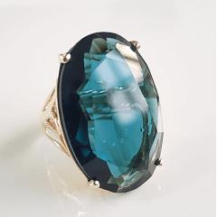 Anel cristal azul indicolita oval 30x20mm - modelo Greta