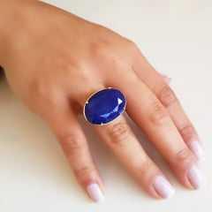 Anel cristal azul jeans oval 25x18mm - Modelo Xadrez