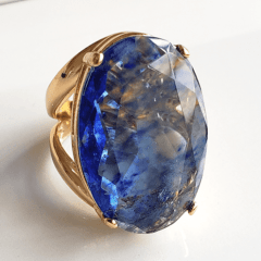 Anel cristal azul rutilado oval 30x20mm - modelo Morgana