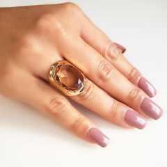 Anel cristal champanhe oval 20x15mm - modelo Allana