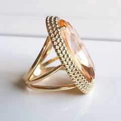 anel cristal pêssego morganita 30x20mm - Modelo Amarilis