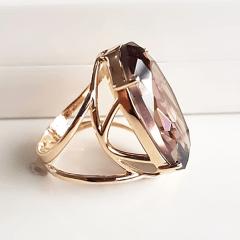 Anel cristal light ametista oval 25x15mm - Modelo Clarice