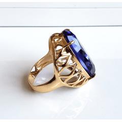 Anel cristal tanzanita oval  28x17mm - modelo Iolanda