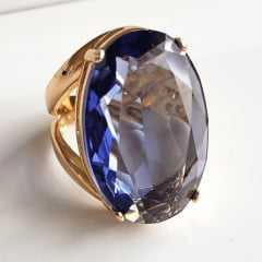 Anel cristal light ametista oval 30x20mm - modelo Morgana