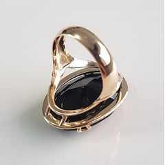 anel cristal preto ônix 25x18mm - modelo Adam