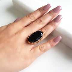 Anel cristal preto ônix oval  28x15mm - modelo Iolanda