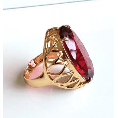 Anel cristal rosa turmalina oval  28x17mm - modelo Iolanda