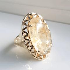 Anel cristal rutilado oval 25x15mm - modelo Cecília