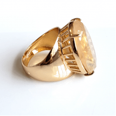Anel cristal rutilado oval 25x18mm - Modelo Ruthie